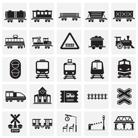 Railroad related icons set on squares background for graphic and web design. Simple vector sign. Internet concept symbol for website button or mobile app