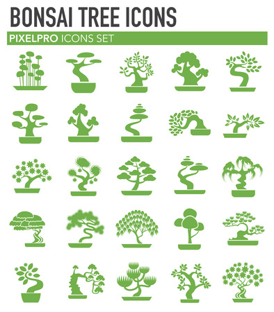 Bonsai icons green set on white background for graphic and web design. Simple vector sign. Internet concept symbol for website button or mobile app.