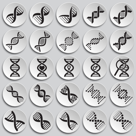 DNA icons set on plates background for graphic and web design. Simple vector sign. Internet concept symbol for website button or mobile app Stock Illustratie
