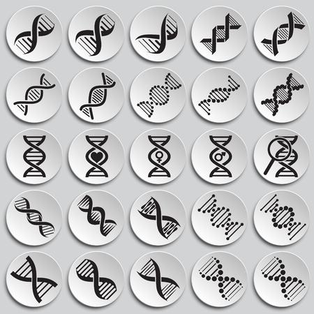 DNA icons set on plates background for graphic and web design. Simple vector sign. Internet concept symbol for website button or mobile app Illusztráció