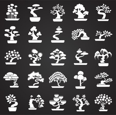 Bonsai icons set on black background for graphic and web design. Simple vector sign. Internet concept symbol for website button or mobile app.