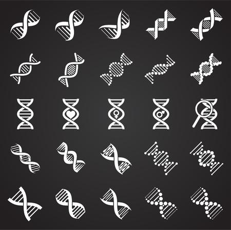 DNA icons set on black background for graphic and web design. Simple vector sign. Internet concept symbol for website button or mobile app Illustration