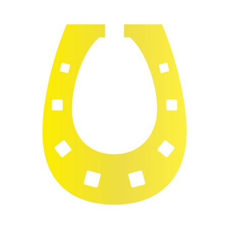 Horse shoe gold icon on background for graphic and web design. Simple vector sign. Internet concept symbol for website button or mobile app.