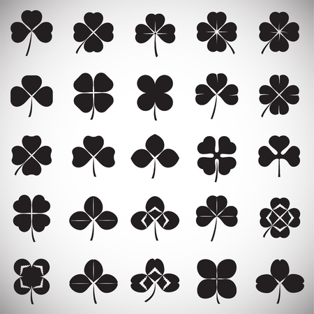 Clover icons set on white background for graphic and web design. Simple vector sign. Internet concept symbol for website button or mobile app. Vektorové ilustrace