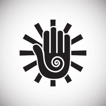 Yoga-bezogenes Symbol im Hintergrund für Grafik- und Webdesign. Einfaches Vektorzeichen. Internet-Konzeptsymbol für Website-Button oder mobile App