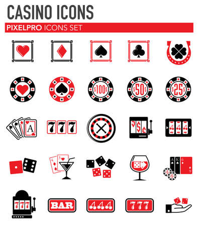 Casino icons set on white background for graphic and web design. Simple vector sign. Internet concept symbol for website button or mobile app.