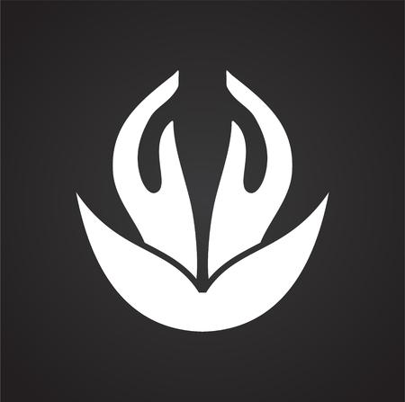Icona relativa allo yoga sullo sfondo per la progettazione grafica e web. Segno di vettore semplice. Simbolo del concetto di Internet per il pulsante del sito Web o l'app mobile. Vettoriali
