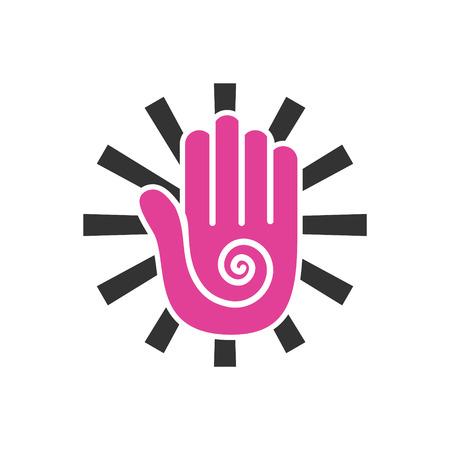 Icona relativa allo yoga sullo sfondo per la progettazione grafica e web. Segno di vettore semplice. Simbolo del concetto di Internet per il pulsante del sito Web o l'app mobile.