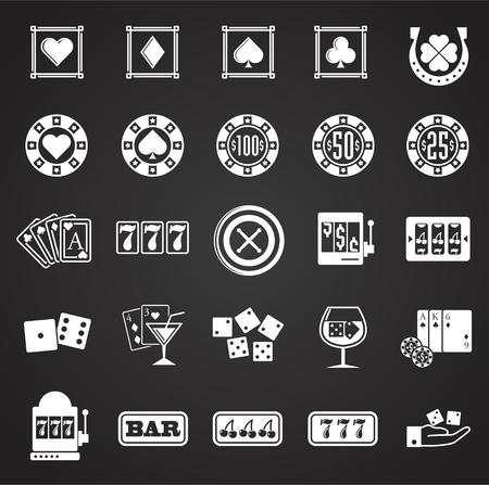 Icone del casinò impostate su sfondo nero per grafica e web design. Segno di vettore semplice. Simbolo del concetto di Internet per il pulsante del sito Web o l'app mobile.
