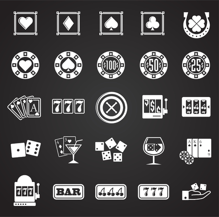 Ikony kasyna na czarnym tle dla projektowania grafiki i stron internetowych. Proste wektor znak. Internet koncepcja symbol przycisku witryny lub aplikacji mobilnej.