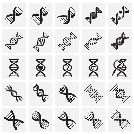 DNA icons set on squares background for graphic and web design. Simple vector sign. Internet concept symbol for website button or mobile app Stock Illustratie