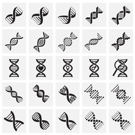 DNA icons set on squares background for graphic and web design. Simple vector sign. Internet concept symbol for website button or mobile app Illusztráció