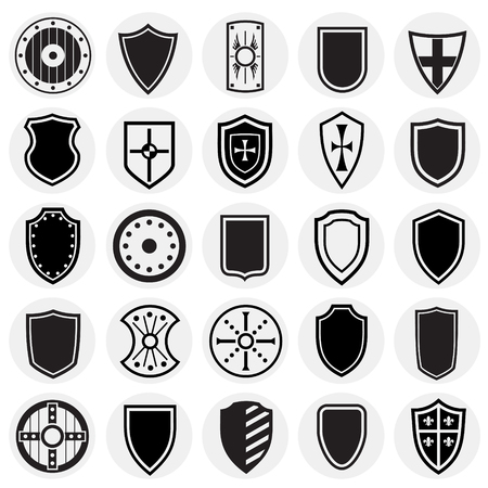 Shields icons set on circles background for graphic and web design. Simple vector sign. Internet concept symbol for website button or mobile app.