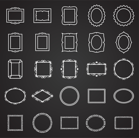 Frames icons set on black background for graphic and web design. Simple vector sign. Internet concept symbol for website button or mobile app.