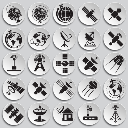 Satellite icons set on plates background for graphic and web design. Simple vector sign. Internet concept symbol for website button or mobile app