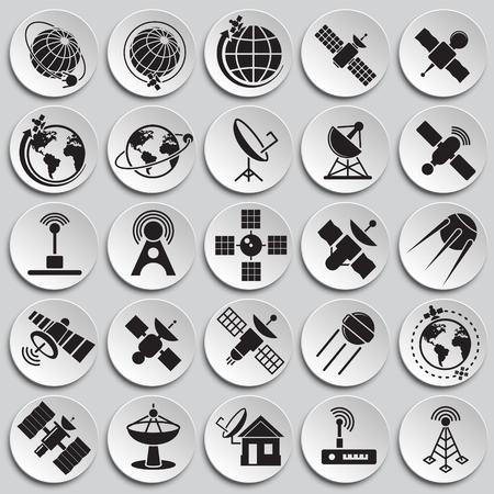 Satellitensymbole auf Plattenhintergrund für Grafik- und Webdesign. Einfaches Vektorzeichen. Internet-Konzeptsymbol für Website-Button oder mobile App