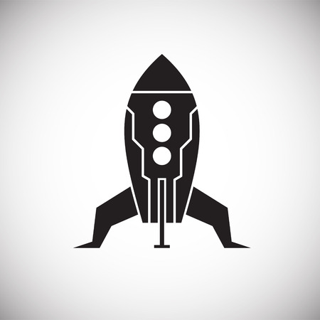 Rocket icon on background for graphic and web design. Simple vector sign. Internet concept symbol for website button or mobile app.