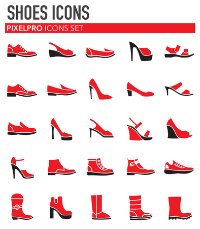 Shoes icons set on background for graphic and web design. Simple vector sign. Internet concept symbol for website button or mobile app. Vektorové ilustrace