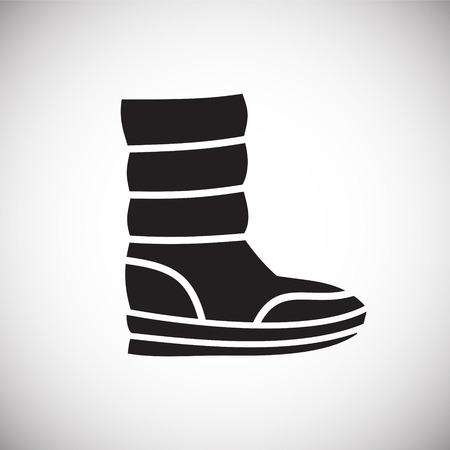 Icona della scarpa sullo sfondo per la progettazione grafica e web. Segno di vettore semplice. Simbolo del concetto di Internet per il pulsante del sito Web o l'app mobile.