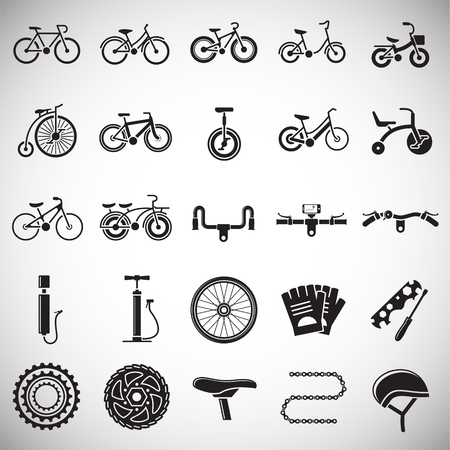 Bicycle related icons set on white background for graphic and web design. Simple vector sign. Internet concept symbol for website button or mobile app