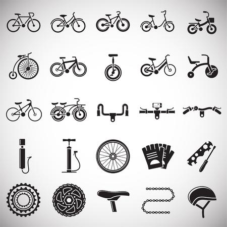 Icônes liées au vélo sur fond blanc pour la conception graphique et web. Signe de vecteur simple. Symbole de concept Internet pour le bouton de site Web ou l'application mobile Vecteurs