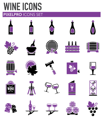 Wine related icons set on white background for graphic and web design. Simple vector sign. Internet concept symbol for website button or mobile app Иллюстрация