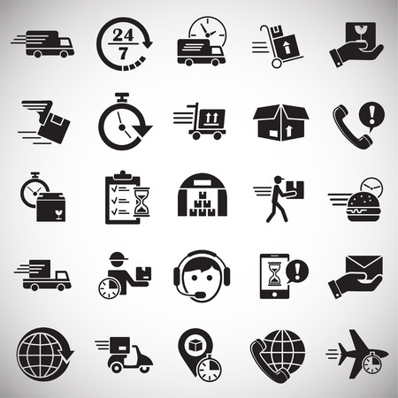 Delivery related icons set on white background for graphic and web design. Simple vector sign. Internet concept symbol for website button or mobile app Illustration