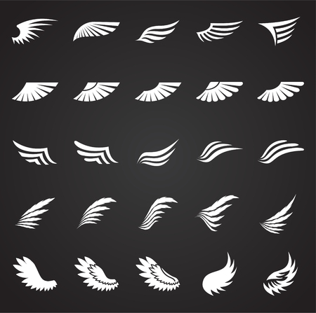 Wings icons set on black background for graphic and web design. Simple vector sign. Internet concept symbol for website button or mobile app