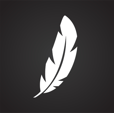 Feather icon on background for graphic and web design. Simple vector sign. Internet concept symbol for website button or mobile app Çizim