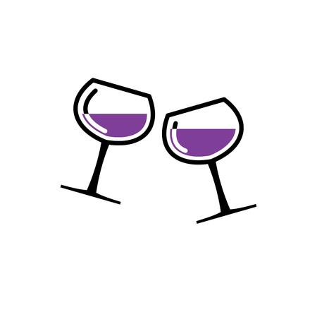 Ikona powiązana z winem na tle do projektowania grafiki i stron internetowych. Proste wektor znak. Symbol koncepcji internetowej dla przycisku strony internetowej lub aplikacji mobilnej Ilustracje wektorowe