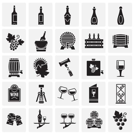 Iconos relacionados con el vino en el fondo de los cuadrados para diseño gráfico y web. Signo de vector simple. Símbolo del concepto de Internet para el botón del sitio web o la aplicación móvil