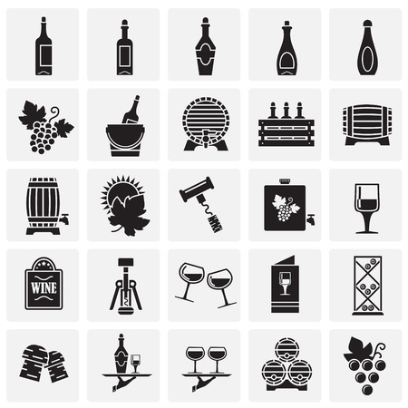 Wine related icons set on squares background for graphic and web design. Simple vector sign. Internet concept symbol for website button or mobile app