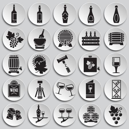 Icone relative al vino impostate su sfondo di piastre per grafica e web design. Segno di vettore semplice. Simbolo del concetto di Internet per il pulsante del sito Web o l'app mobile Vettoriali