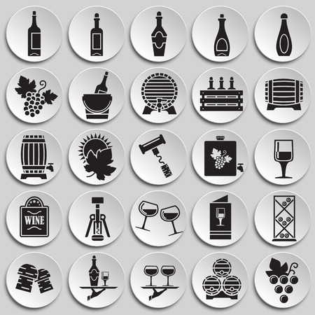 Wine related icons set on plates background for graphic and web design. Simple vector sign. Internet concept symbol for website button or mobile app Çizim