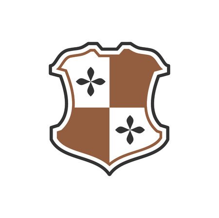Shields and Heraldry related icon on background for graphic and web design. Simple vector sign. Internet concept symbol for website button or mobile app