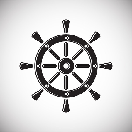 Ship steering wheel icon on background for graphic and web design. Simple vector sign. Internet concept symbol for website button or mobile app