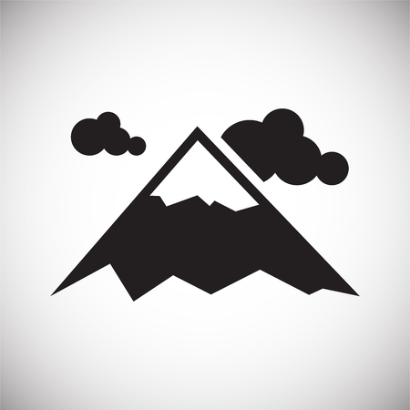 Mountain icon on background for graphic and web design. Simple vector sign. Internet concept symbol for website button or mobile app.