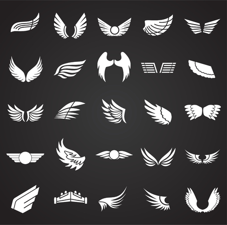 Wings icons set on black background for graphic and web design. Simple vector sign. Internet concept symbol for website button or mobile app.