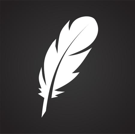 Icona piuma sullo sfondo per la progettazione grafica e web. Segno di vettore semplice. Simbolo del concetto di Internet per il pulsante del sito Web o l'app mobile.