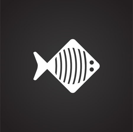 Fish icon on background for graphic and web design. Simple illustration. Internet concept symbol for website button or mobile app.