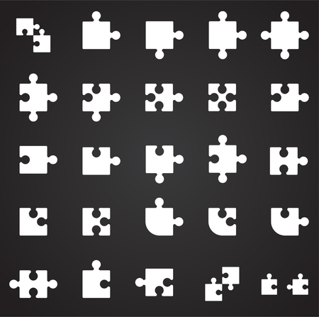 Puzzle icons set on black background for graphic and web design. Simple vector sign. Internet concept symbol for website button or mobile app.