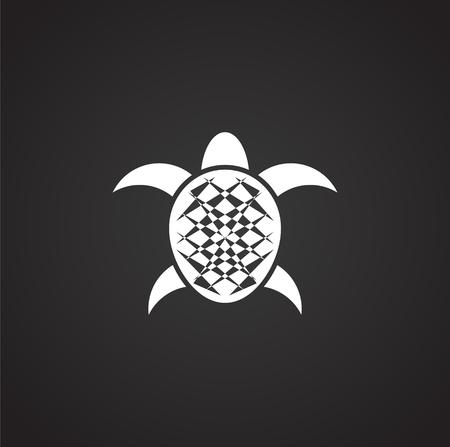 Icône de tortue de mer sur fond pour la conception graphique et web. Illustration simple. Symbole de concept Internet pour le bouton de site Web ou l'application mobile.
