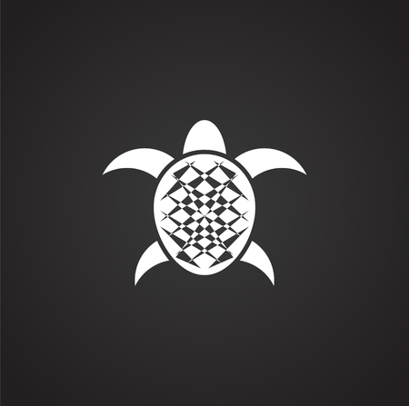Sea turtle icon on background for graphic and web design. Simple illustration. Internet concept symbol for website button or mobile app.