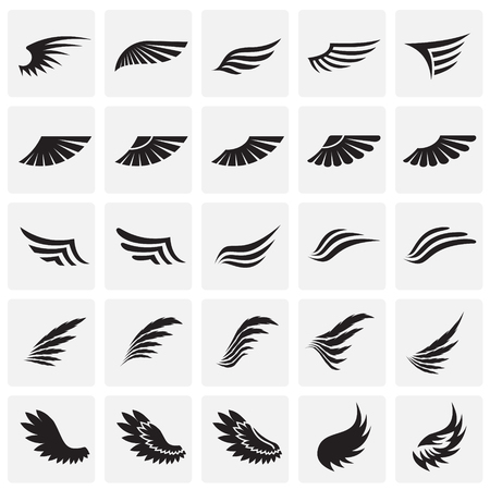 Wings icons set on sqaures background for graphic and web design. Simple vector sign. Internet concept symbol for website button or mobile app Çizim