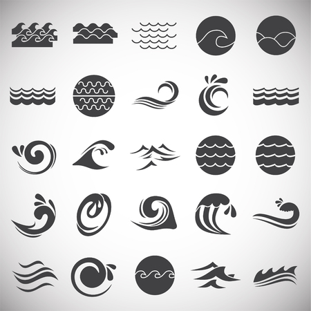 Waves icons set on white background for graphic and web design. Simple vector sign. Internet concept symbol for website button or mobile app