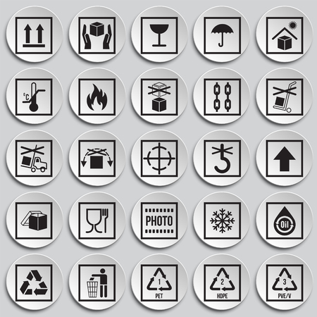Packaging symbol icons on plates background for graphic and web design. Simple vector sign. Internet concept symbol for website button or mobile app