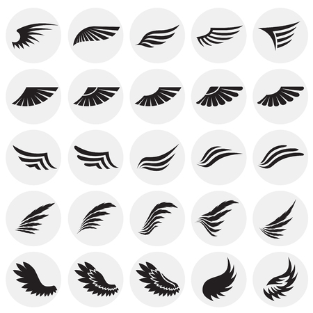 Wings icons set on circles background for graphic and web design. Simple vector sign. Internet concept symbol for website button or mobile app Ilustração