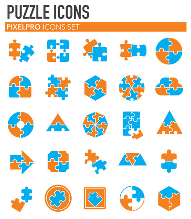 Puzzle icons set on white background for graphic and web design. Simple vector sign. Internet concept symbol for website button or mobile app.