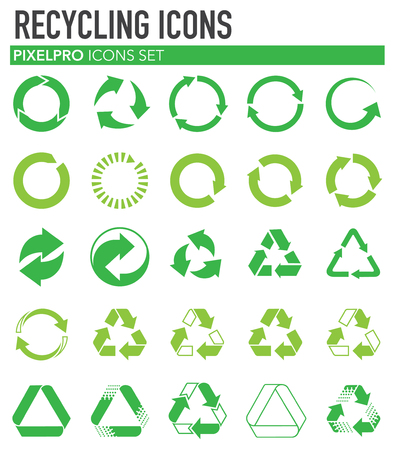 Recycling icons set on white background for graphic and web design. Simple vector sign. Internet concept symbol for website button or mobile app.
