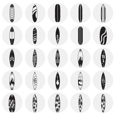 Surfboard icons set on circles background for graphic and web design. Simple vector sign. Internet concept symbol for website button or mobile app.